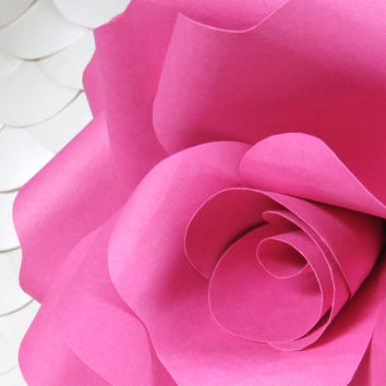 FUCHSIA paper wall rose - floral decor - wall art paper sculpture - Flower Taxidermy No.91