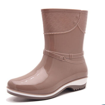 Women Spring Fashion black red beige platform Mid-Calf Rain Boots Waterproof Wellies Boots lady Rainboots Water Shoes