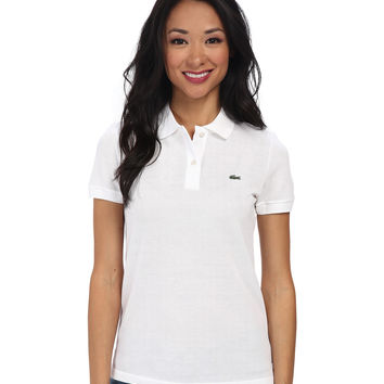 Lacoste Women's White Color Short Sleeve Pique Original Fit Polo Shirt