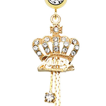Golden Colored Juicy Crown Sparkle Belly Button Ring