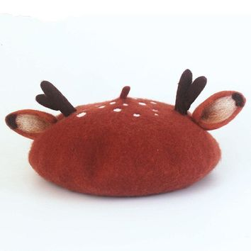 Original Manual Wool Felt Christmas Antler Ears Beret Originality Hat Gift New Product Women Beret
