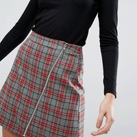 ASOS Tailored Check Mini Skirt With Zip Detail at asos.com