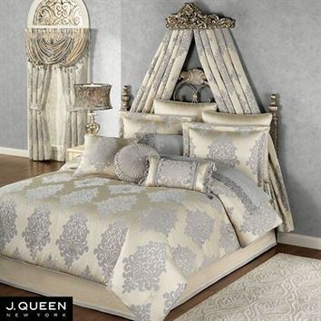 Windsor Fleur Medallion Comforter Bedding by J Queen New York