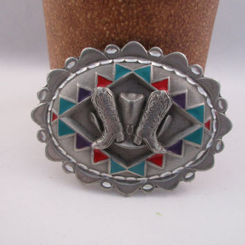 Cowboy Boots and Ten Gallon Hat Belt Buckle. Solid Pewter. free shipping -FL