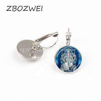 ZBOZWEI Lord Ganesh Ganesha earring God of Fortune earring Hindu Elephant earring Buddha Meditation Spiritual Jewelry earring