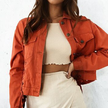 Constance Denim Jacket Red