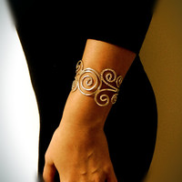 Cuff Bracelet-Unique Elegant Bracelet-Wedding Jewelry-Geometrical Design-Everyday Jewelry-Casual Chic-Silver Bracelet-Spiral Design
