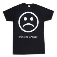 Sad Face on Black T-Shirt - T-Shirts - Apparel