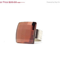 Mothers Day Sale Statement Ring, Swarovski Crystal Copper and Silver