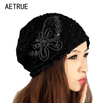 Beanies Knitted Winter Hat Warm Caps Winter Hats For Women Ladies Casual Brand Butterfly Skullies Beanie Lace Mask New 2017 Cap