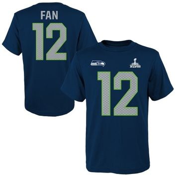12th Fan Seattle Seahawks Super Bowl XLVIII Youth Name and Number T-Shirt - College Navy