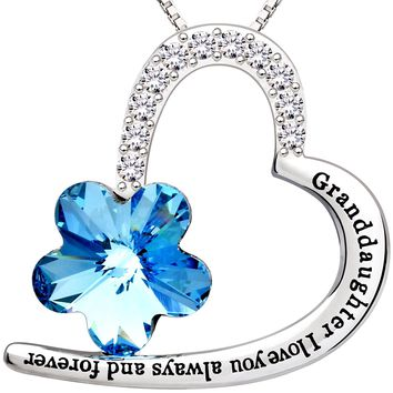 """Jewelry Sterling Silver """"Granddaughter I love you always and forever"""" Love Heart Crystal Cubic Zirconia Pendant Necklace"""