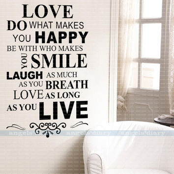 """Love Happy"" Wall Sticker Quote Vinyl Decal Wallpaper Home Room Decor"