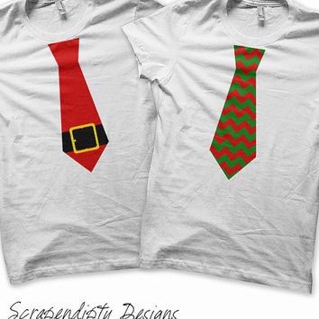 Iron on Christmas Shirt PDF - Santa Tie Iron on Transfer / Red and Green Chevron Tie / Boys Holiday Kids Clothing / Toddler Christmas Outfit