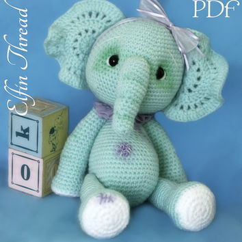 Elfin Thread - Elephant Crochet Amigurumi Pattern ( Elephant crochet PDF  Pattern)