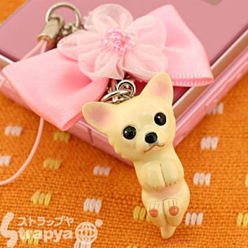 Pet Lovers Hand Made mini tam Dog Beads Cell Phone Strap Jewelry Strap Charm (Chihuahua / Ribbon Pink)- 123-940058