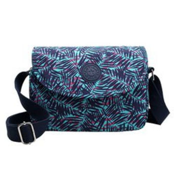 Trendy Nylon and Bamboo Leaves Print Design Crossbody Bag For Women