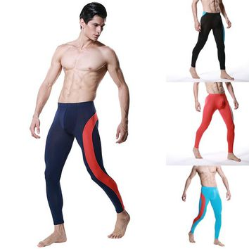 Fashion Men Modal Long Johns Pants Low Rise Pouch Trousers Thermal Underwear M L XL  L4 HU5
