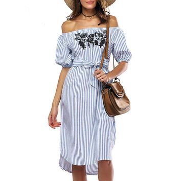 Feitong Summer Women Sexy Off shoulder Dress Fashion Casual Short Sleeve Slash Neck Striped Long Maxi Dress vestidos femininos