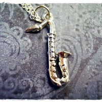 Silver Saxophone Necklace - Silver Pewter Saxophone Charm on a Delicate 18 Inch Silver Plated Cable Chain