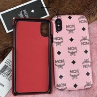 MCM Fashion Women Men Leather Simple Hard Mobile Phone Cover Case For iphone 6 6s 6plus 6s-plus 7 7plus iPhone8 iPhone X(8-Color)