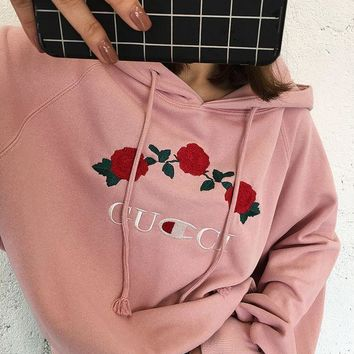 DCCKN7K ' GUCCI '' Hot Sale Embroidery Rose Flower Blouse loose type Hoodie Sweatershirt