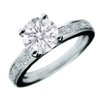 Engagement Ring - Round Diamond Engagement Ring Vintage diamond band beaded edges in 14K White Gold - ES763