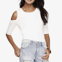 COLD SHOULDER FITTED TEE from EXPRESS
