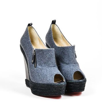 QIYIF Grey and Black Christian Louboutin Woolen Espadrille Wedge Heel Booties