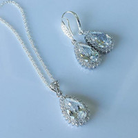 Wedding Crystal Jewelry Set, Crystal Earrings, Crystal Pendant, Bridal Jewelry Set, Bridesmaids Jewelry