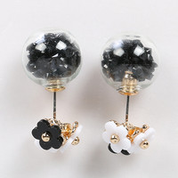 Black Stone Ball And Beaded Flower Earrings