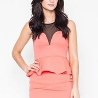Pink Sleeveless Peplum Dress with Mesh Neckline