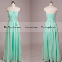 Simple Mint Strapless Pleated Bust Bow Belt Floor-length Party Dress with Train,bridesmaid dress,cocktail dresses,cheap prom dress