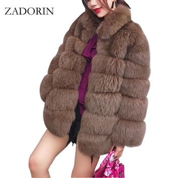 ZADORIN Plus Size Winter Outerwear Furry Faux Fur Coat Women High Collar Long Sleeve Fake Fur Jacket fourrure abrigos mujer