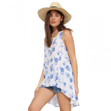 Blue Floral Sleeveless Chiffon Cut-out Top with Short Front
