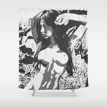 Simply Perfect - seducing nude girl, hot brunette woman posing topless, erotic pop art illustration Shower Curtain by Peter Reiss