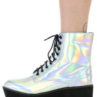 HOLOGRAM PLATFORM LACE-UP BOOTS