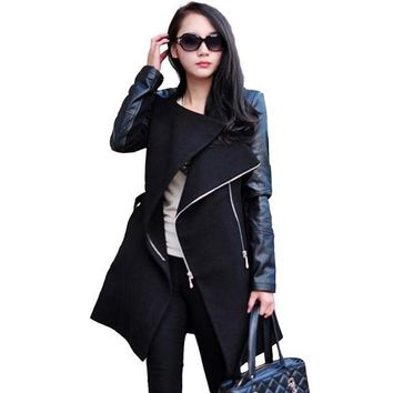 Long Wool PU Leather Sleeve Jacket Coat For Women