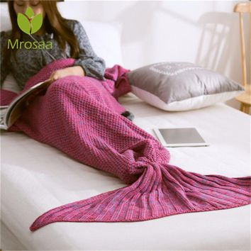 New Mermaid Blanket Handmade Yarn Knitted Mermaid Tail Blanket for Adult Kids Throw Bed Wrap Super Soft Crochet Warm Blanket