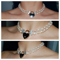 SALE Two Row Genuine  White Pearl & Clear AB Swarovski Crystal Locking BDSM Day Collar Reg. 79.95