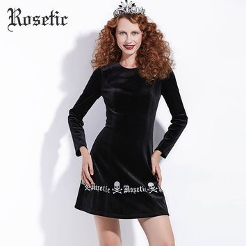 Gothic Dress Vintage Black Autumn A-Line Women Skull Dress Letter Party Sexy Fashion Wild Club Retro Goth Dress