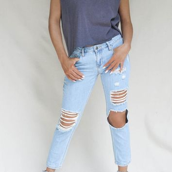 Tongue Tied Faded Slim Boyfriend Jeans