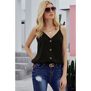 Fashion Black Spaghetti Strap Buttoned Tank Top