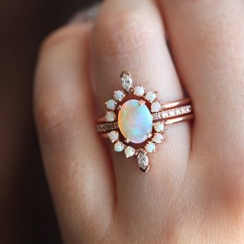 Pastel Ring set, All Australian opal Ring Set with Diamonds, Diamonds and opals Ring Set, Perfect Ring set for her, Unique wedding Set