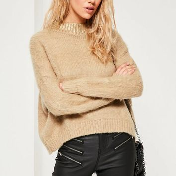 Missguided - Fluffy Foiled High Neck Jumper Camel