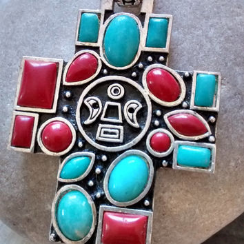 vintage sterling Native American Mexican Folk Art faux turquoise DIY rosary cross pendant Graduation Father's Day of the Dead Aztec jewelry