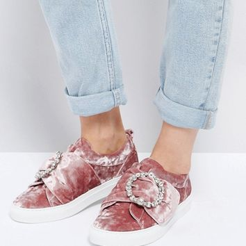 ASOS DRAGONFLY Embellished Buckle Trainers at asos.com