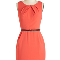 ModCloth Mid-length Sleeveless Shift Myriad Moods Dress in Coral
