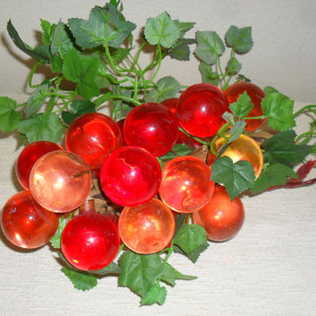 Vintage 1960s Orange LUCITE Acrylic Ball Grapes with driftwood stem