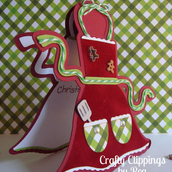 Christmas Card, Apron Card, Cookie Exchange, Christmas Apron, Christmas Cookies, Gingerbread man Card, Baking gift, Cookie cutter